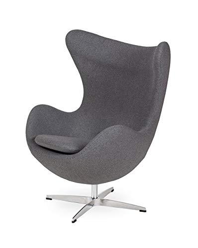 furnigo | Designer Sessel Classic in Ei Form, Reproduktion, Zeitlos, Rot Farben, Wollstoff (Graphit)