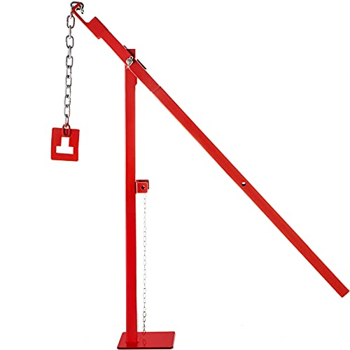 VEVOR T Post Remover Puller, 15 3 4  Long Chain T Post Puller, 32  Standing Frame Fence Post Puller Set with Lifting Chain Puller, T Stake Puller for Round Fence Posts, Metal, Sign Posts & Tree Stump