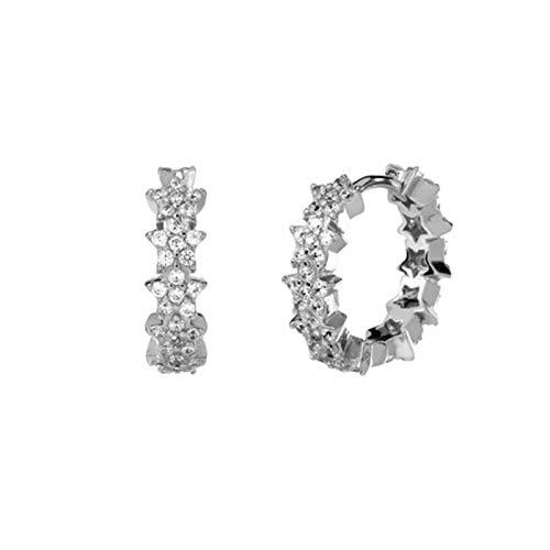 WanXingY Damas Crystal 925 Pendientes de aro de Plata esterlina Pendientes de joyería de Plata de Oro Pendientes Redondas (Color : Silver Color)