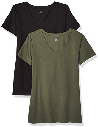 Amazon Essentials Women s 2 Pack Classic Fit Short Sleeve V Neck T Shirt Olive Black XXL product image