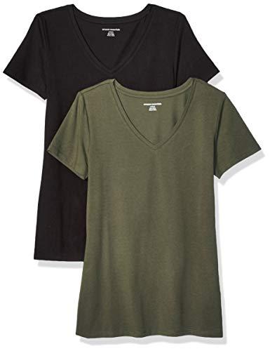 Amazon Essentials Women's 2-Pack Classic-Fit Short-Sleeve V-Neck T-Shirt, Olive/Black, M
