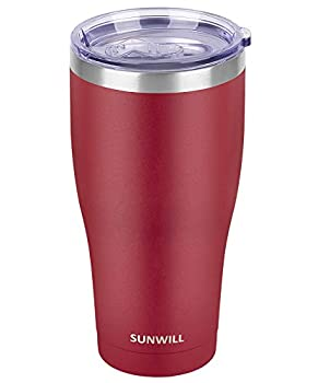 SUNWILL 30oz Tumbler with Lid Stainless Steel Vacuum Insulated Double Wall Travel Tumbler Durable Insulated Coffee Mug Powder Coated Wine Red Thermal Cup with Spill Proof Lid