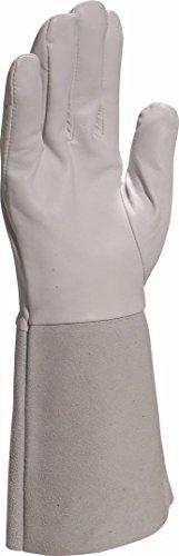 Deltaplus GFA115K10 Handschuh Aus Lammsnarbenleder Mit Kevlar-Faden Und Stulpe 15 Cm, Grau, Größe 10
