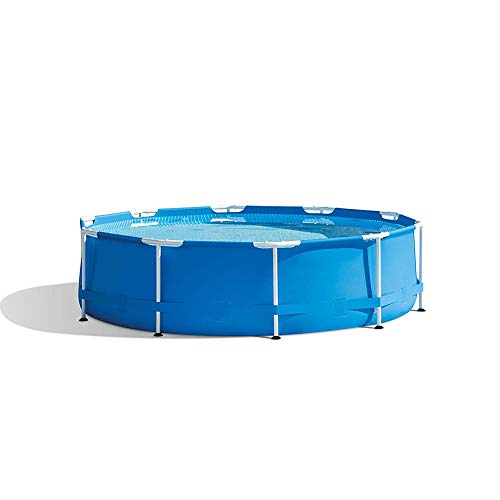 Intex 10 Foot x 30 Inch Round Metal Frame Backyard Above Ground Swimming Pool, Summer Swimming Pool Toy, The for Children