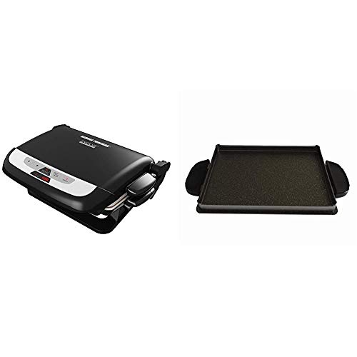 George Foreman GRP4842MB Multi-Plate Evolve Grill, (Ceramic Grilling Plates, and Waffle Plates Included), Black & Foreman Evolve Grill System Griddle Plate, GFP84GP