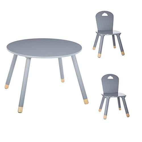 Set Table douceur grise + 2 chaises douceur grises Atmosphera