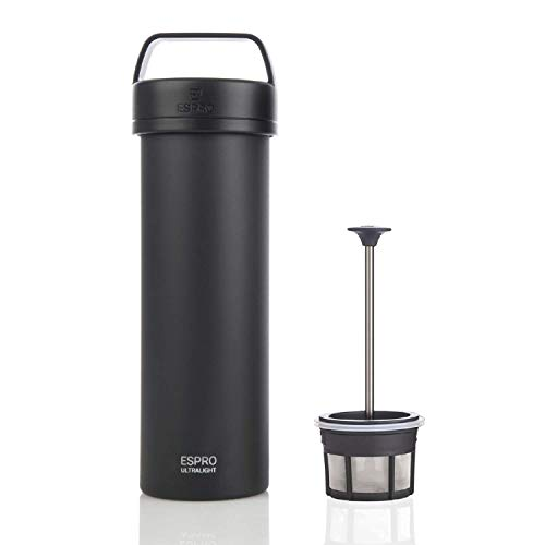 ESPRO Ultralight Stainless Steel Insulated Travel Coffee French Press, 16 oz, Matte Meteorite Black