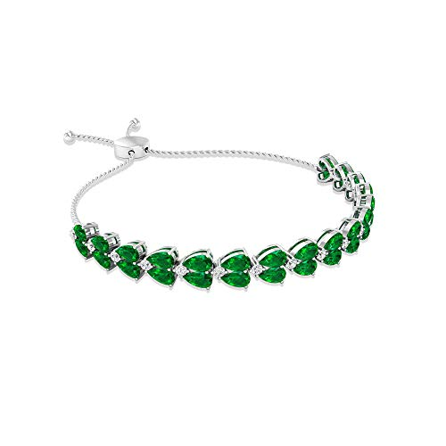 7.52 Carat Pear Shaped Emerald IGI Certified Diamond Bolo Bracelet, Antique May Birthstone Floral Petal Adjustable Chain Bracelet, Women Birthday Gift, 14K White Gold