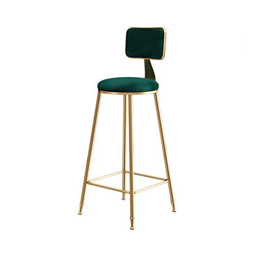 Home warehouse Nordic Bar Chair, Household Restaurant Lounge Chair Armchair Decoration Dining Chair Coffee Shop Tea Shop Gold Iron Art High Stool Furniture,Green