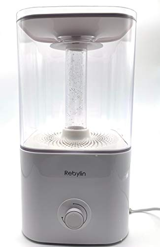 Rebylin 5.5L Cool Mist Humidifier,Premium Humidifying with Visible Water Tank, Whisper-Quiet Operation, Auto Shut Off Best for Kids Baby Office Bedroom Gym Home