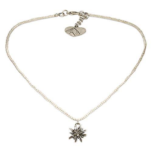 Alpenflüstern Filigrane Mini-Perlenhalskette Strassedelweiss - Damen-Trachtenschmuck mit antik-Silber-farbenem Edelweiss, Dirndlkette klar-kristall DHK258