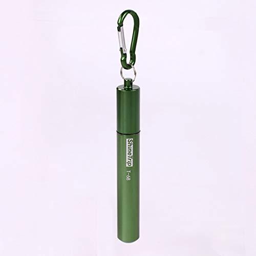 Benrise Cannuccia 5 in 1 per esterni, portatile, ecologica, colorata, in acciaio inox 304, pieghevole, telescopica, con scocca in alluminio + spazzola + custodia + ugello in silicone Green