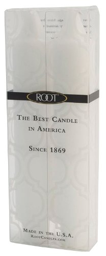 Root Boutique 7-Inch Unscented Timberline Collenette Dinner Candles, White, Box of 2