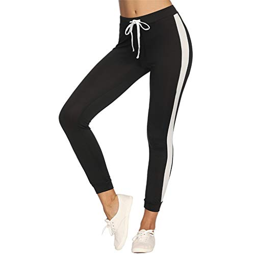 Forthery Womens Yoga Pants Stripe Out Pocket Tie Waist Tummy Control Workout Running Athletic Jogger Pants Leggings(Black,XL)