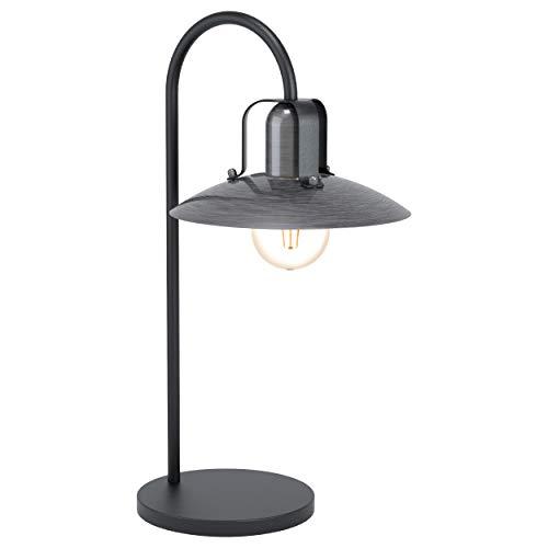 EGLO Kenilworth 43207 - Lámpara de mesa industrial, vintage, retro, de acero, para salón, en negro, níquel envejecido, con interruptor, casquillo E27