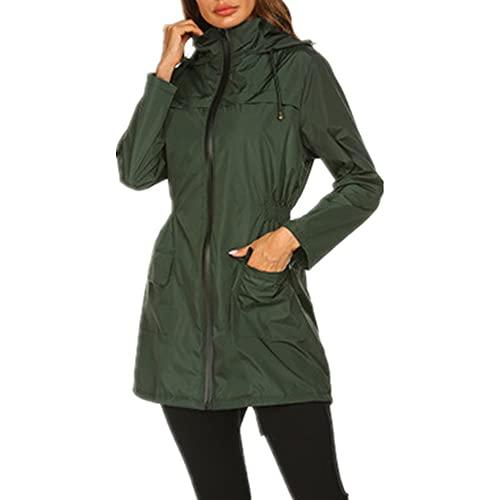 Chaqueta de mujer gris negro verde suelto con capucha impermeable abrigo primavera otoño