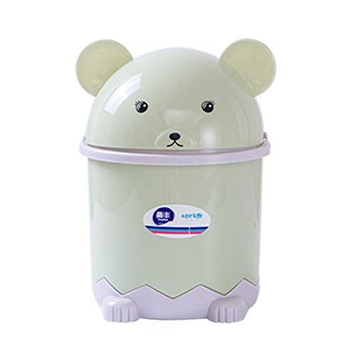 Depory Papelera de Escritorio Mini, Animales de Dibujos Animados de Plástico Para Escritorio de Oficina size L (Green)