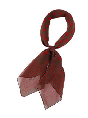 Prettystern prettystern Damen 85 cm quadratisch Polka Dots Punkte gepunktet leicht 100% Seide Halstuch Braun Rot P01
