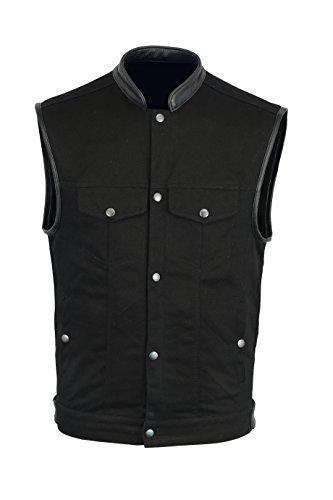 Mara Leather Basic Denim Vest 100% Cotton for Men's (Black) (M)