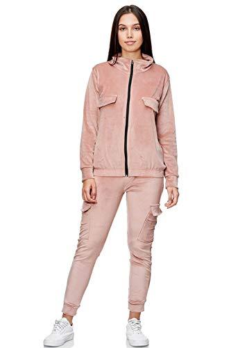 EGOMAXX Damen Nicki Anzug Freizeit Cargo Sportanzug Zweiteiler Set Basic Velour Komfort, Farben:Rosa, Größe:L/XL