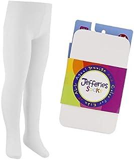 Jefferies socks ジェフリーズ ソックス キッズ ベビー スムースマイクロファイバータイツ 無地 (ホワイト, 4-6才)
