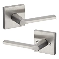 Satin nickel Lisbon door lever can be used on interior doors requiring no locking functionality, such as hallway or closet door handles Fully reversible contemporary lever, can be installed on both right handed and left handed doors Modern door handl...