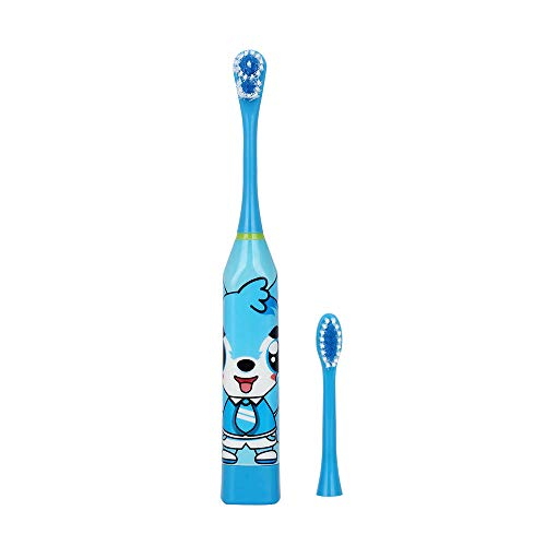 AZDENT Kinder Elektrische Zahnbürste mit 2 stücke Arbeits Batterie Typ Cartoon Muster Zellen Pinsel Elektrische Zahnbürste Für Kinder-Blau