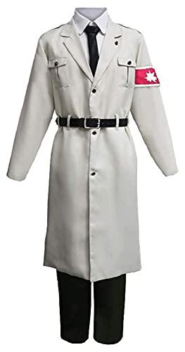 A-TTICE No T-Itan Shingeki Ataque S4 Scout Survey Corps Marley Ejército Uniforme blanco Trajes de Carnaval Halloween Traje Anime Men Fantasía Vestido Carnaval (Color : Blanc, Size : S)