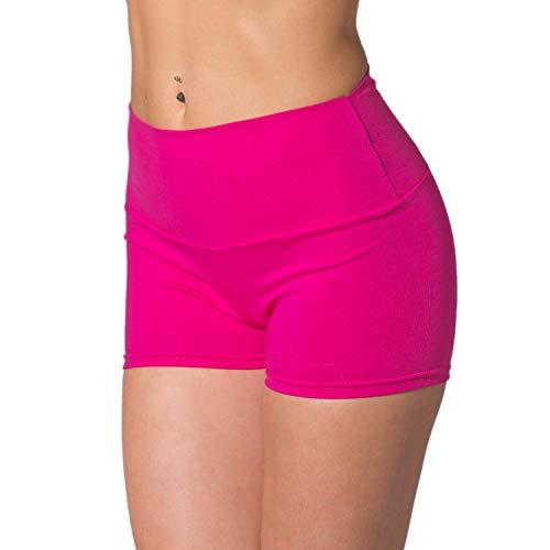 Alkato Damen Sport Shorts mit Hohem Bund Hotpants, Farbe: Pink, Größe: 38