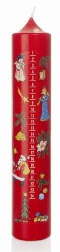 Calendario de Adviento vela en rojo 50/265 mm, con calendario de vela de Navidad