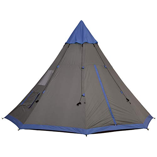 Outsunny Large 6-Person Metal Teepee Camping Tent with Weather Protection, Portable Design, and Included Carrying Bag