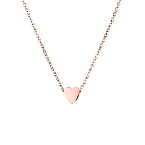 Damen Halskette mit Herz in Silber Gold oder Rose   Frauen Schmuck aus Edelstahl   Elegantes Schmuckstück verstellbar mit Karabiner Verschluss (Rose)