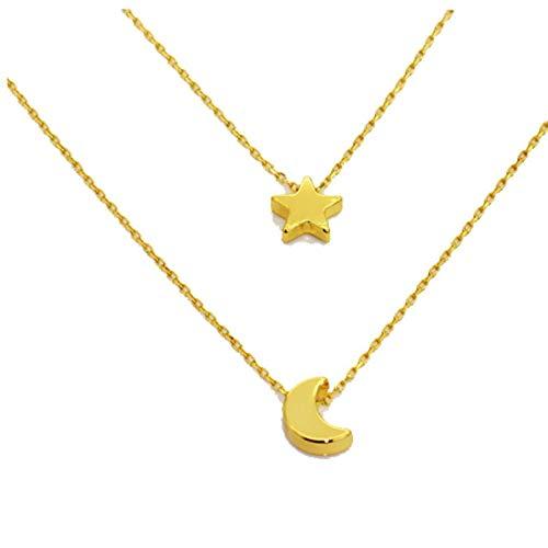 Odoukey Capa de Las Mujeres Collar de Doble geométrica Estrella de la Luna Larga Pendiente del Collar del Collar Cadena Gargantilla joyería de Navidad Regalo de Oro