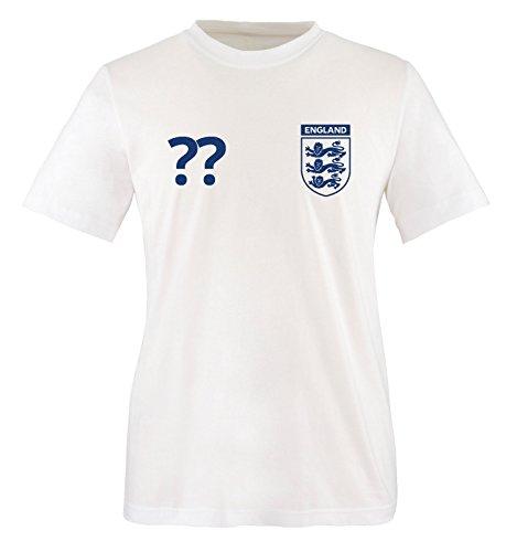 England Wunsch - Herren T-Shirt - Weiss/Blau Gr. M