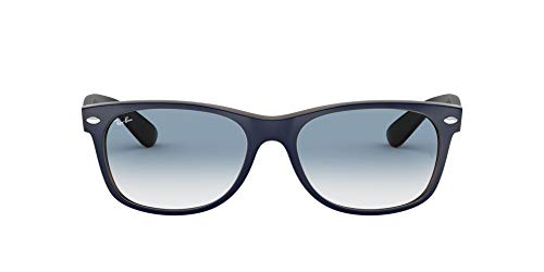 Ray-Ban Junior Herren New Wayfarer Sonnenbrille, Blau (Azul Mate/Marrón), 55