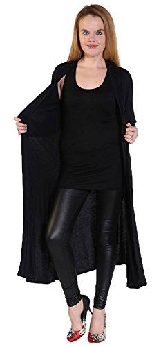 Womens Ladies Long Sleeve Maxi Boyfriend Cardigan Open Floaty 8-26 Duster Jacket Coat Blazer Longline Black