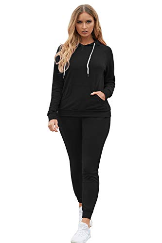 Selowin Womens Active Sweatshirt Hoodie Bodycon Jogging Pant Set Casual Tracksuit Black M