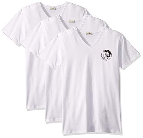 Diesel Herren Michael 3 Pack V-Neck T-Shirts Funktionsunterwäsche, weiß, Large