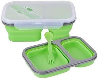 MEIMIA Lunch box plegable de silicona a prueba de fugas, sellado hermético con compartimentos y con cubiertos incluidos. ...