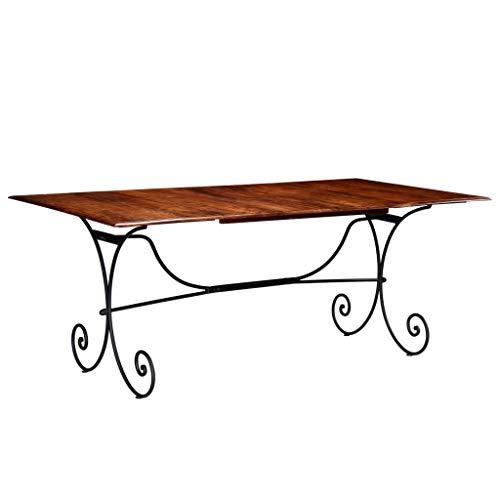 Esstisch, Tisch, Küchentisch Stabil Regale, einfacher Aufbau, Geeignet für Esszimmer Küche Wohnzimmer, Industrie-Design, Massivholz mit Palisander-Finish 200 x 100 x 76 cm