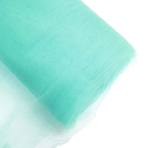 Craft And Party, 54' by 40 Yards (120 ft) Fabric Tulle Bolt for Wedding and Decoration (Aqua)