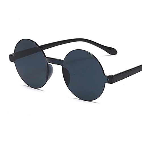 ShSnnwrl Gafas De Moda Gafas De Sol Gafas De Sol Redondas Mujer Vintage Clásico Estilo Hip Hop Gafas De Sol Diseñador Femenino Marco Negro Blackgray