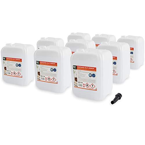 Höfer Chemie 90 L (9 x 10 L) Bioethanol 96,6% Premium - TÜV SÜD zertifizierte QUALITÄT - für Ethanol Kamin, Ethanol Feuerstelle, Ethanol Tischfeuer und Bioethanol Kamin