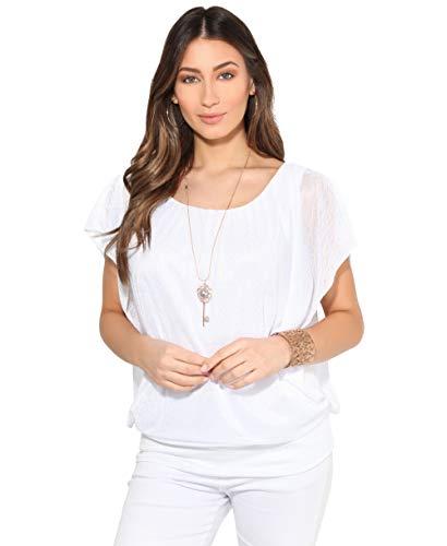 6093-WHT-ML: Leichtes Fledermausärmel Shirt Kurze Ärmel (Weiß, Gr.M/L)