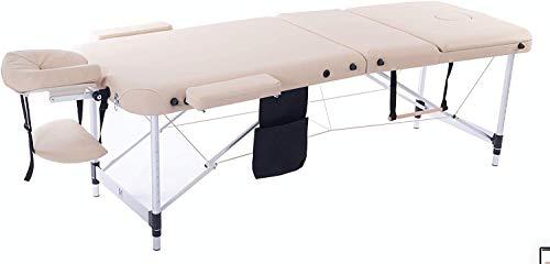 MASSUNDA COMFORT LIGHT Camilla de masaje portátil y ajustable en altura, estructura de aluminio plegable, apoyabrazos y respaldo, almohada para el cuello, reposacabezas ergonómico (Beige)