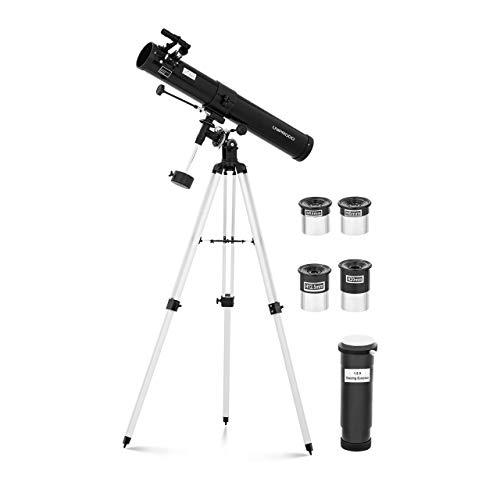 "Uniprodo Uni_Telescope_10 Teleskop 900 mm Ø 76 mm Tripod-Stativ Barlowlinse Mondfilter Aufrichtlinse Okularauszug 1,25\"" Newton-Reflektor Fernrohr"