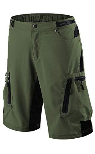 Arasiyama Men's Mountain Biking Shorts Bike MTB Shorts Loose Fit Cycling Baggy Lightweight Hiking Pants with 7 Zip Pockets Green