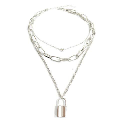 Ybyifs Collar con candado de corazón con colgante de cadena de clavícula steampunk, estilo hip hop, joyería gótica