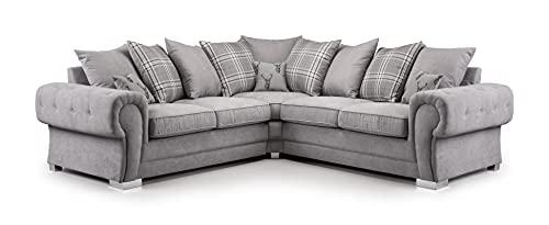 Honeypot - Corner Sofa - Verona - Soft Grey Fabric - Scatterback Cushions(Grey, 2C2 Large Corner)