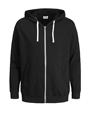 JACK & JONES Herren Jjeholmen Sweat Zip Hood Noos Sweatjacke, Schwarz (Black Fit:reg Fit), L